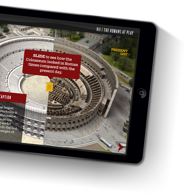 Picture of the Colosseum on an iPad with controls to compare what it looked like in the past vs present