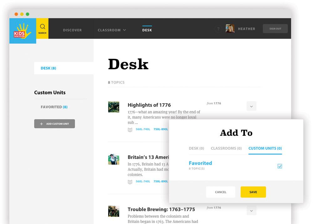 Screenshot of the desk feature