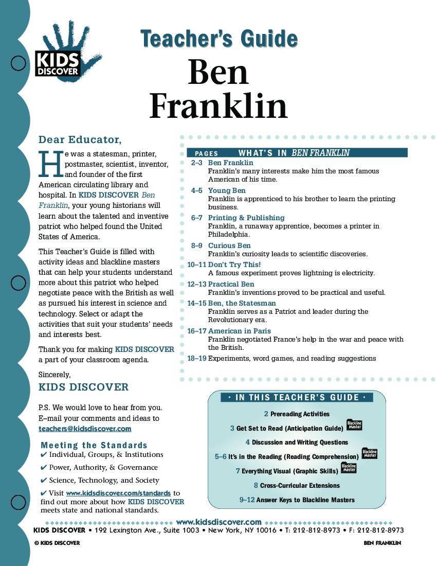 Ben Franklin Kids Discover – Benjamin Franklin Worksheets