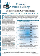 This free Vocabulary Packet for KD2: Leaders and Government is a systematic and individualized approach to vocabulary development and enables teachers to assist students in improving their reading comprehension skills.