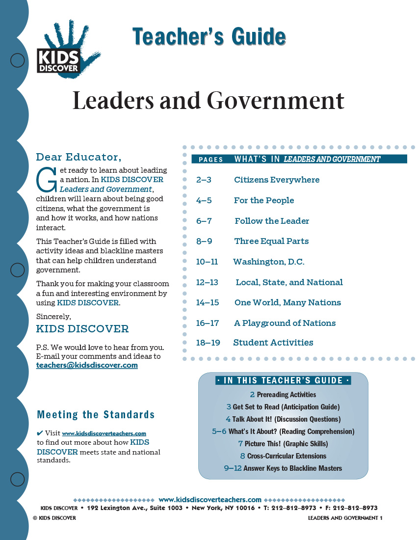 This 12-page Teacher Guide on KD2 Leaders and Government is filled with activity ideas and blackline masters that can help children understand what the government is, how it works, and how nations interact.