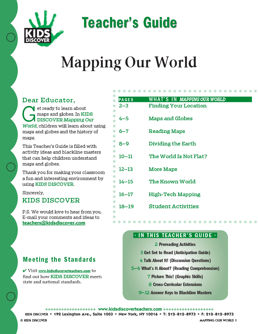 This 12-page Teacher Guide on KD2 Mapping Our World is filled with activity ideas and blackline masters that can help children understand maps and globes.