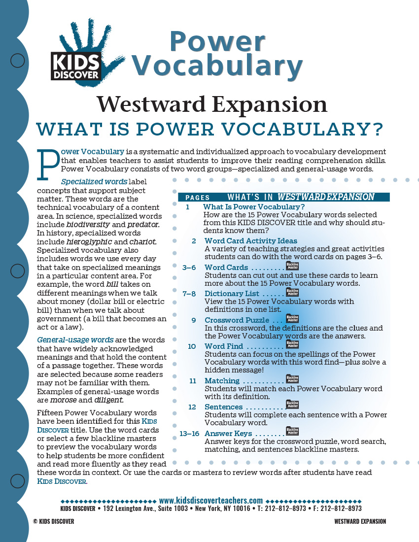 This free Vocabulary Packet for Kids Discover Westward Expansion is a systematic and individualized approach to vocabulary development and enables teachers to assist students in improving their reading comprehension skills.