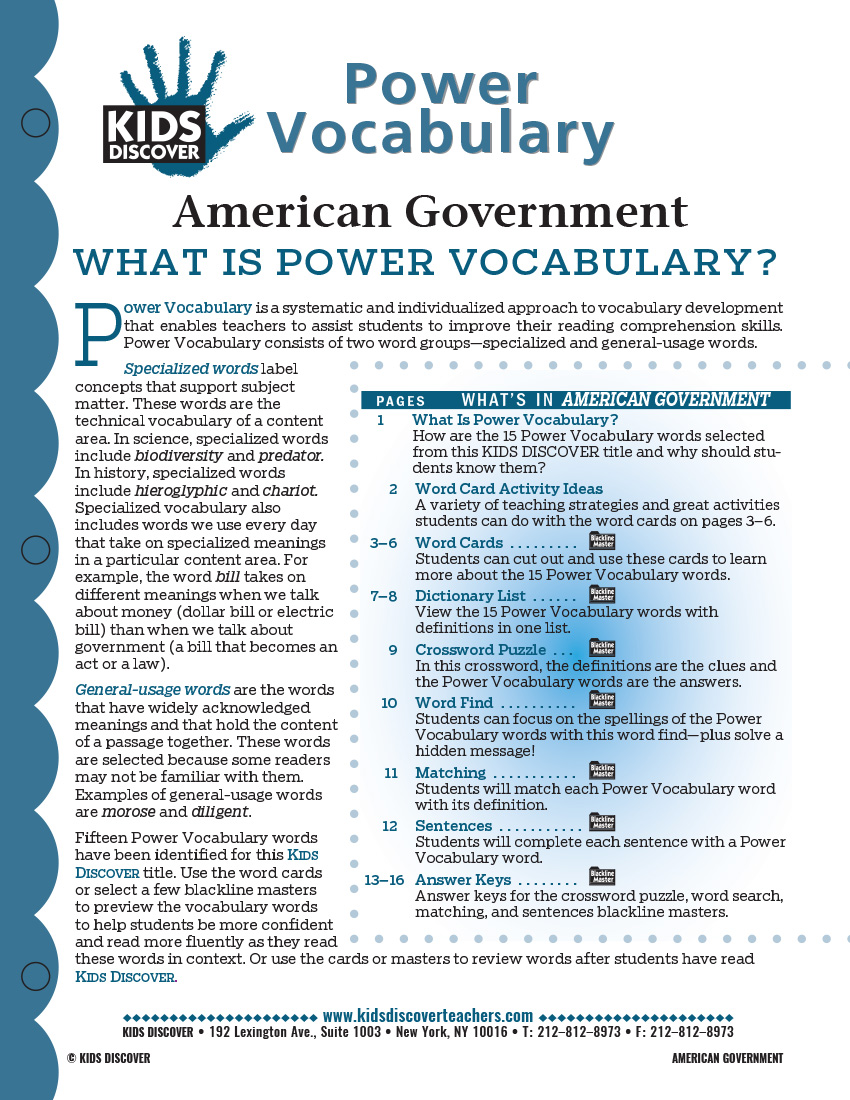 This free Vocabulary Packet for Kids Discover American Government is a systematic and individualized approach to vocabulary development and enables teachers to assist students in improving their reading comprehension skills.