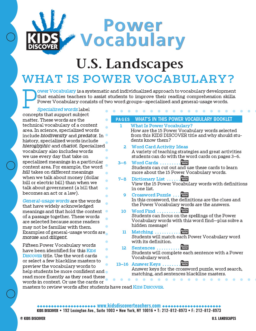 This free Vocabulary Packet for Kids Discover U.S. Landscapes is a systematic and individualized approach to vocabulary development and enables teachers to assist students in improving their reading comprehension skills.