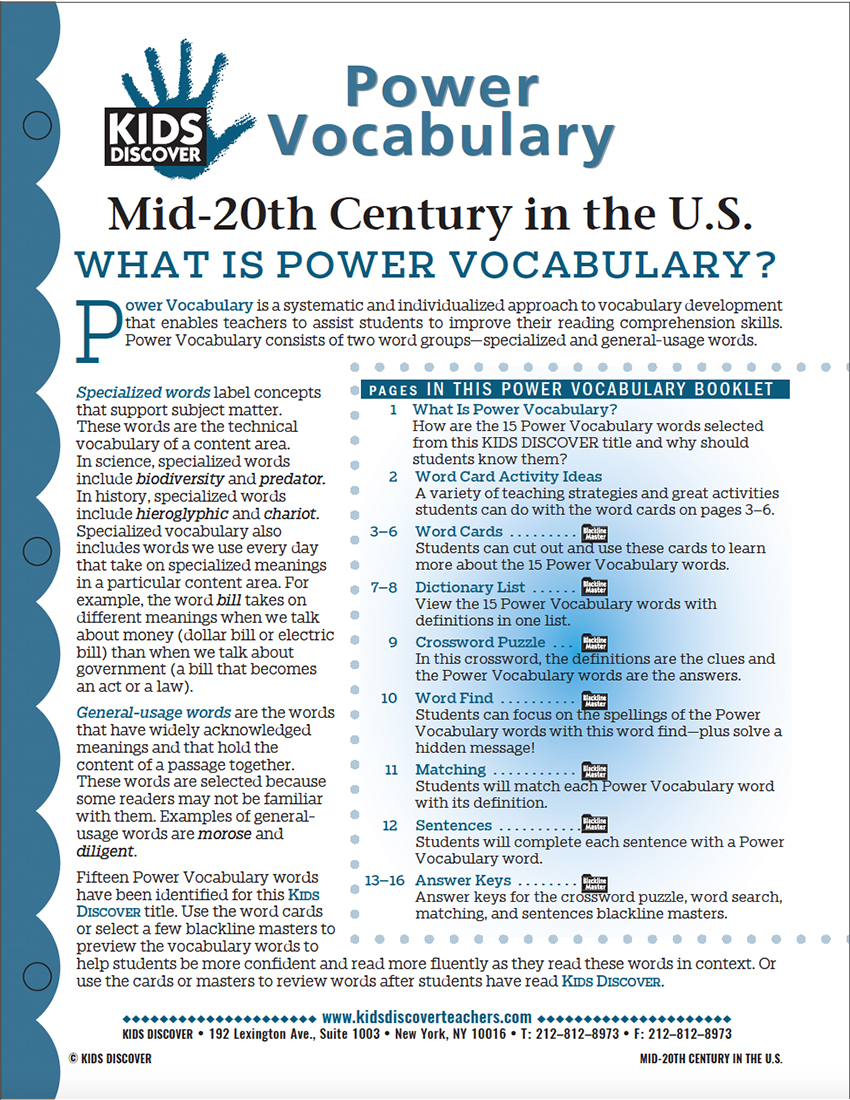 This free Vocabulary Packet for Kids Discover Mid-20th Century in the US is a systematic and individualized approach to vocabulary development and enables teachers to assist students in improving their reading comprehension skills.