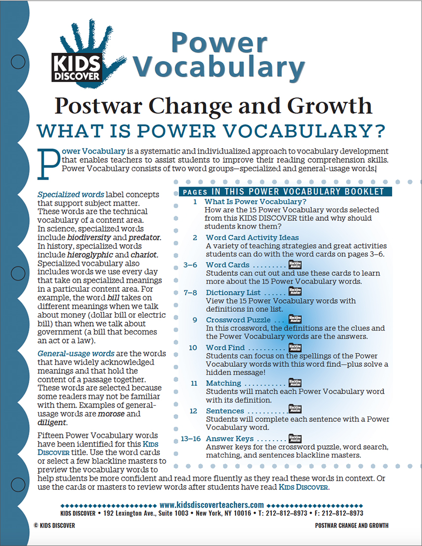 This free Vocabulary Packet for Kids Discover Postwar Change and Growth is a systematic and individualized approach to vocabulary development and enables teachers to assist students in improving their reading comprehension skills.