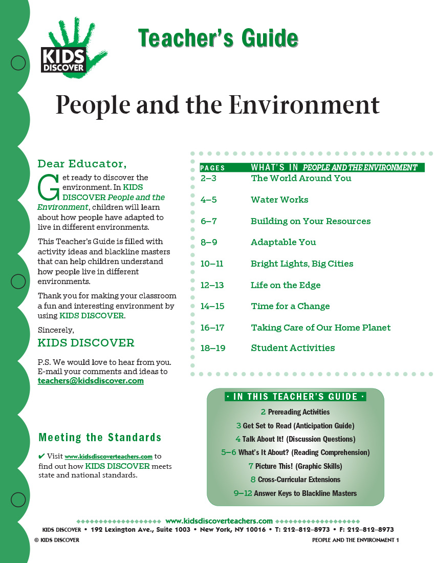 This 12-page Teacher Guide on KD2 People and the Environment is filled with activity ideas and blackline masters that can help children understand how people live in different environments.