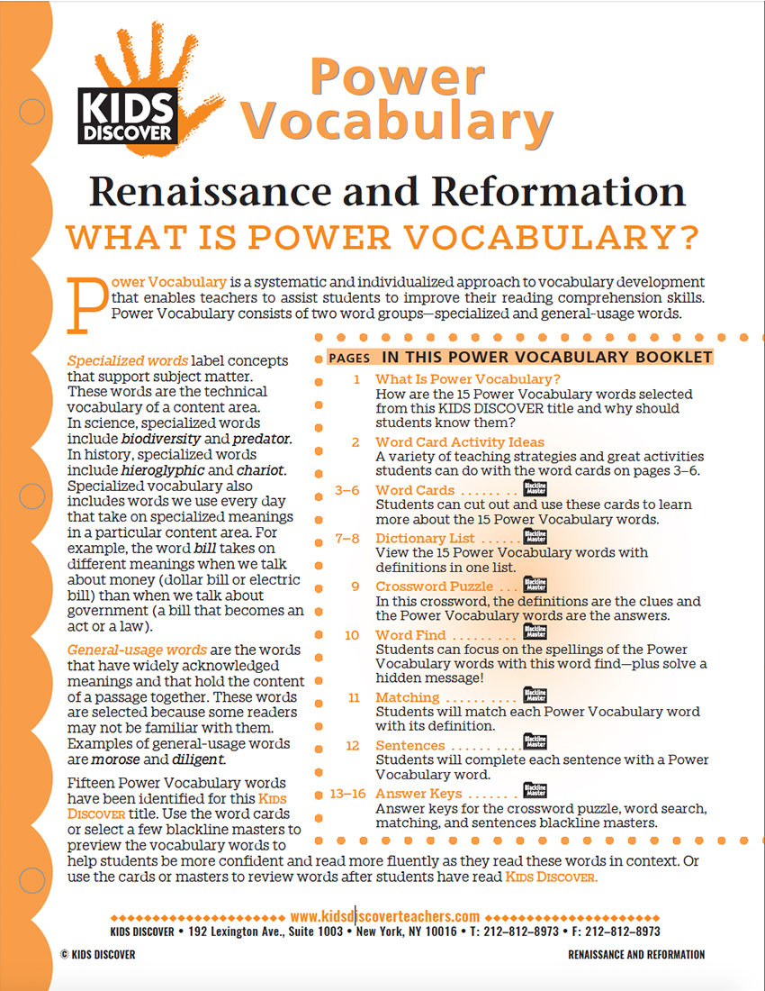 This free Vocabulary Packet for Kids Discover Renaissance and Reformation is a systematic and individualized approach to vocabulary development and enables teachers to assist students in improving their reading comprehension skills.