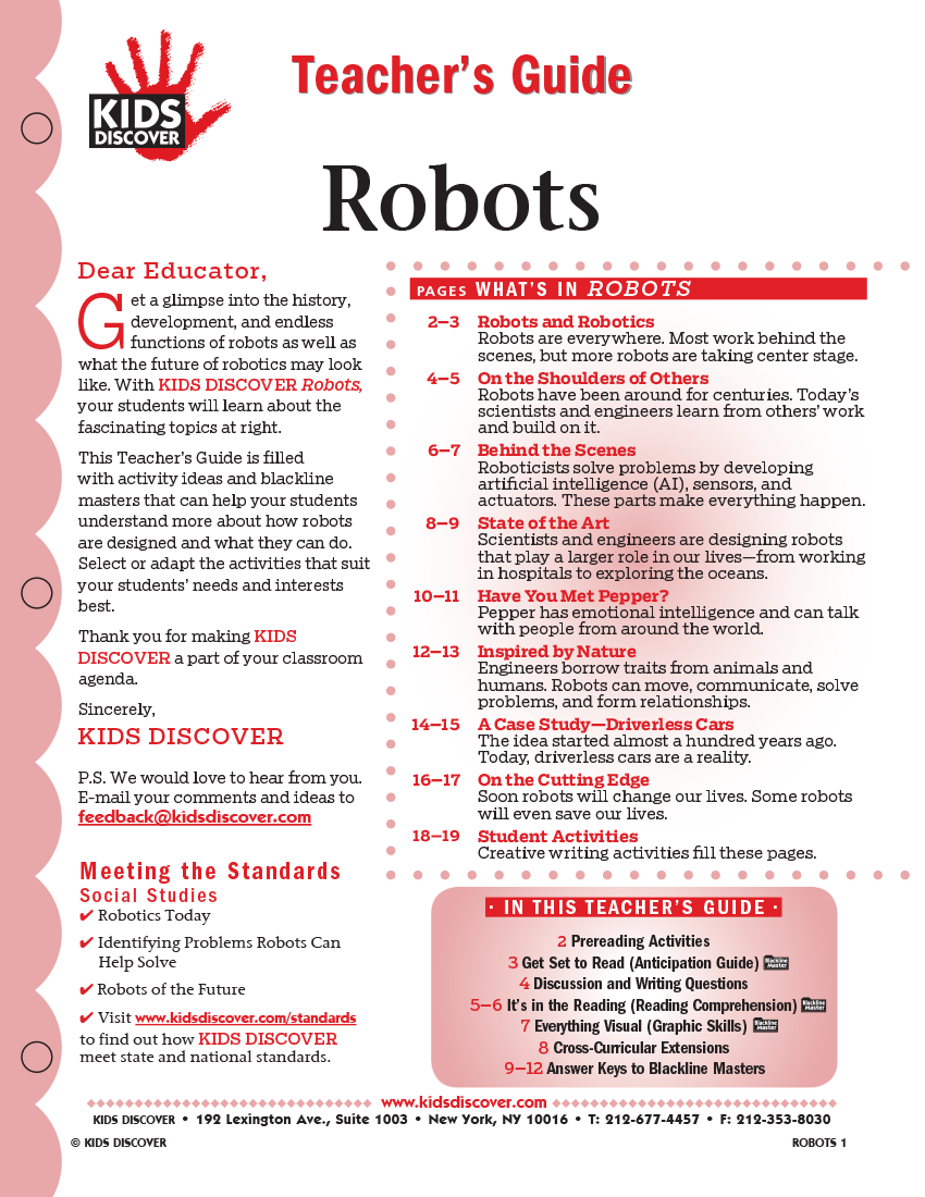 Teacher's Guides for Kids Discover Robots