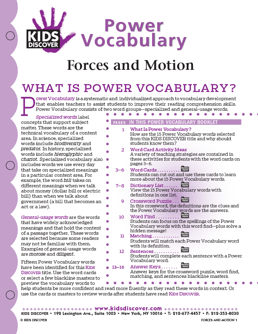 Power Vocabulary for Kids Discover Force and Motion